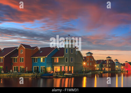 Colourful houses at Reitdiephaven, Groningen, Netherlands - Stock Photo