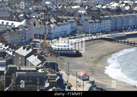 Aberystwyth seafront showing the new bandstand under construction during a hot summers day - Stock Photo