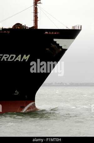 AJAXNETPHOTO - 14th Sept, 2010 - SOLENT,ENGLAND. -  CONTAINER SHIP APL ROTTERDAM OUTWARD BOUND FROM SOUTHAMPTON. - Stock Photo