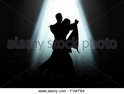 Silhouette illustration of a couple dancing under the light - Stock Photo
