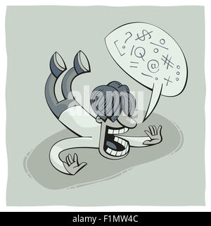 Illustration of a falling man and cursing - Stock Photo