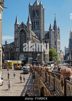 Saint Nicholas Church Ghent, Belgium - 21/08/2015: 13th century St. Nicholas Church is one of the oldest landmarks - Stock Photo