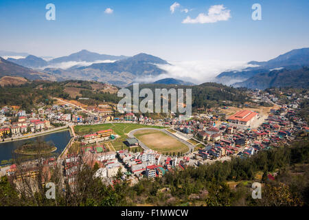 General view of Sapa Town, Lao Cai Province, North Vietnam. - Stock Photo