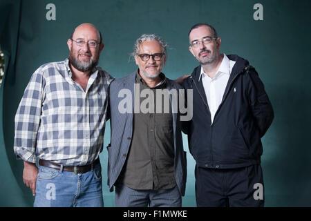 Eduardo Antonio Parra (left) Gabriel Orozco (centre) and Pablo Soler Frost,  at the Edinburgh International Book - Stock Photo