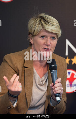 Stamford, Lincs, UK. 4th September, 2015. The Land Rover Burghley Horse Trials 2015 Clare Balding Credit:  Tim Scrivener/Alamy - Stock Photo