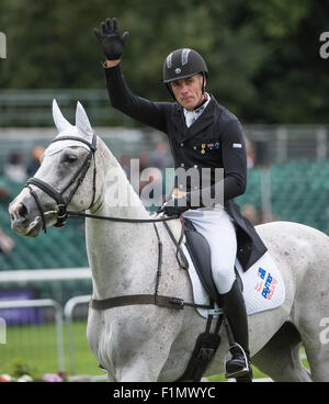 Stamford, Lincs, UK. 4th September, 2015.Paul Tapner (AUS) and Kilronan [#86] during the dressage phase on the second - Stock Photo