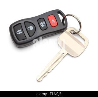 Single Car Key with Key less Remote Isolated on White Background. - Stock Photo