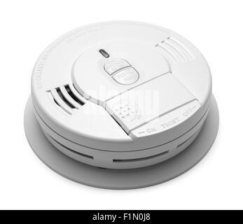 Round Plastic Smoke Detector Fire Alarm Isolated on White Background. - Stock Photo