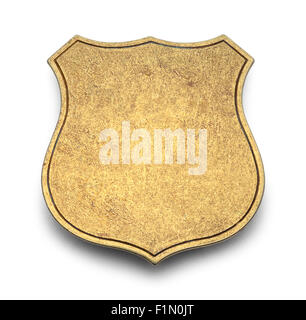 Gold Shield Badge with Copy Space Isolated on White Background. - Stock Photo