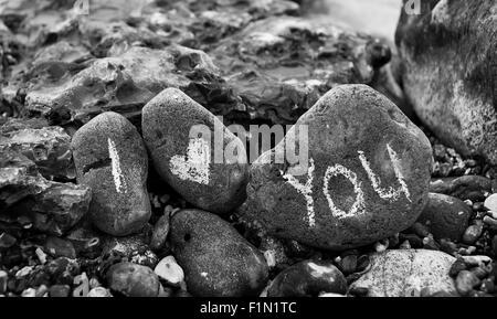 I Love you on seaside pebbles