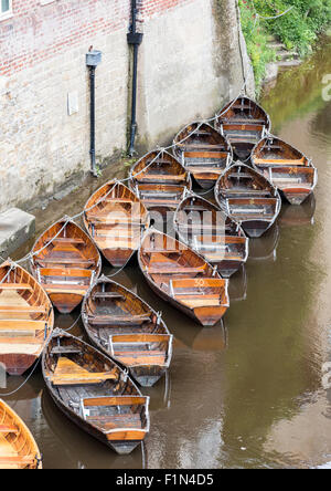 Rowboats for hire in the River Wear, Durham, England, UK. View from Leazes Road bridge - Stock Photo