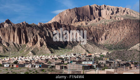 Massif and town of San Peditro in the Quebrada de Humahuaca valley of Jujuy Province Argentina, north of Salta - Stock Photo