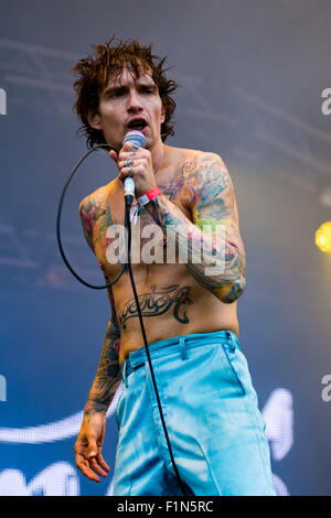 The Darkness rocking the crowds Live at Victorious Festival 2015 - Stock Photo