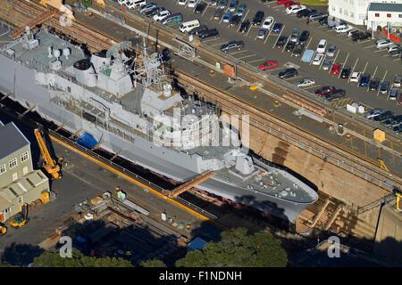NZ Navy Frigate Te Mana in historic Calliope Dry Dock (built 1888), Devonport Naval Base, Auckland, New Zealand - Stock Photo