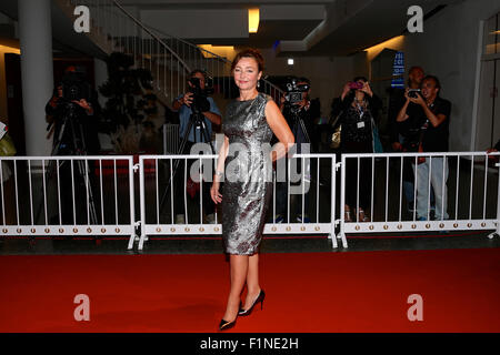 Venice, Italy. 4th Sep, 2015. Actress Catherine Frot attends the red carpet event for the movie 'Marguerite' at - Stock Photo