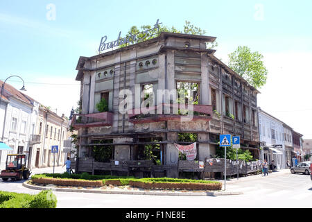 Destroyed house as war aftermath. The Croatian War of Independence was fought from 1991 to 1995 in Pakrac, Croatia - Stock Photo