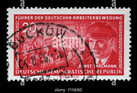 Stamp printed in GDR (East Germany) shows Ernst Telman (1886-1944), leader of the Communist Party of Germany, circa - Stock Photo