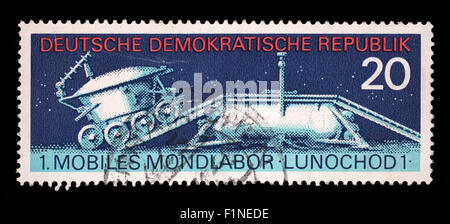 Stamp printed in East Germany shows the soviet moon machine Lunokhod - 1, circa 1971 - Stock Photo