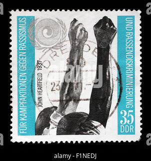 Stamp printed in GDR dedicated to the struggle against racism, circa 1971 - Stock Photo