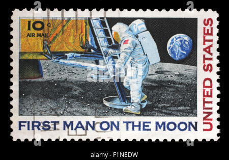 Stamp printed in USA shows Astronaut Neil Armstrong on the Moon, circa 1969 - Stock Photo