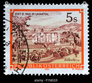 Stamp printed in Austria shows St. Pauls Abbey in the Lavanttal, Karintien, circa 1984 - Stock Photo