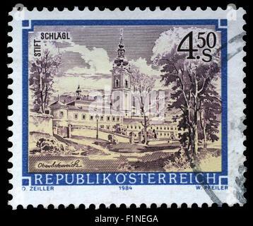 Stamp printed in the Austria shows Schlagl Monastery, Upper Austria, circa 1984 - Stock Photo