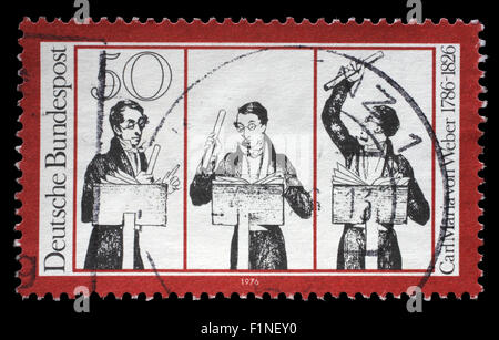 Stamp printed in Germany honoring Carl Maria von Weber, shows musicians, circa 1976 - Stock Photo