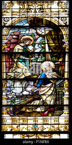 annunciation of mary stained glass in sainte clotilde