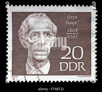 Stamp printed in GDR shows Otto Nagel (1894-1967), painter, circa 1970 - Stock Photo