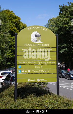 Roundhay Park, Leeds.  Sign outside Roundhay Park in Leeds - Stock Photo