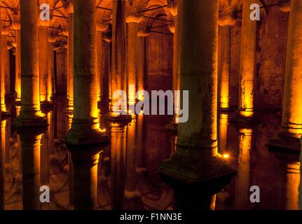 Famous tourist spot in Istanbul -Basilica Cistern - Stock Photo