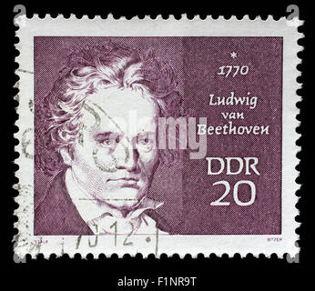 Stamp printed in GDR shows Ludwig van Beethoven, composer, circa 1970 - Stock Photo