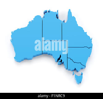Extruded map of Australia with state borders - Stock Photo
