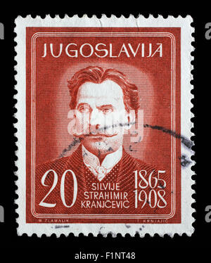Stamp printed in Yugoslavia shows Silvije Strahimir Kranjcevic, Croatian poet, circa 1960. - Stock Photo
