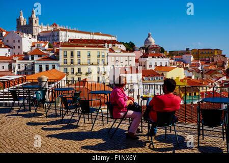 Portugal, Lisbon, Alfama from Santa Luzia belvedere - Stock Photo