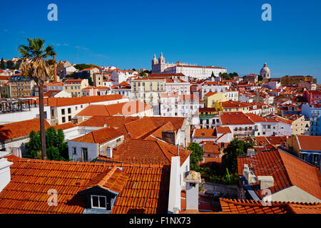 Portugal, Lisbon, Alfama from Santa Luzia belvedere, view on Sao Vicente de Fora monastery and National Pantheon - Stock Photo
