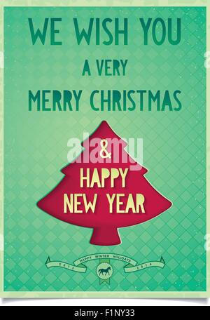 Vintage poster card wishes of Christmas and new year with Christmas tree on background of cell - Stock Photo