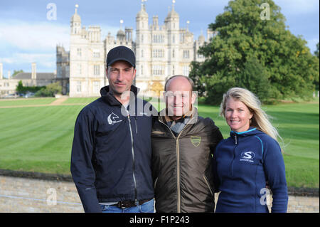 Stamford, UK. 5th September, 2015. Land Rover Burghley Horse Trials 2015, Stamford England. Leaders after the cross - Stock Photo