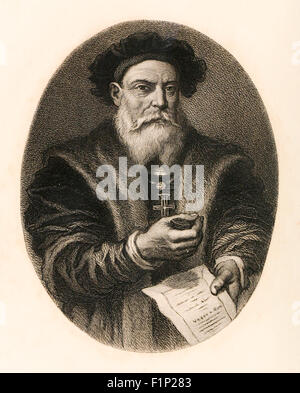 Vasco da Gama (1460-1524) Portuguese explorer, the first European to successfully navigate a route from Europe to - Stock Photo