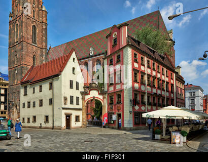 Hansel and Gretel houses, Market Square or Ryneck of Wroclaw, Lower Silesia, Poland, Europe - Stock Photo