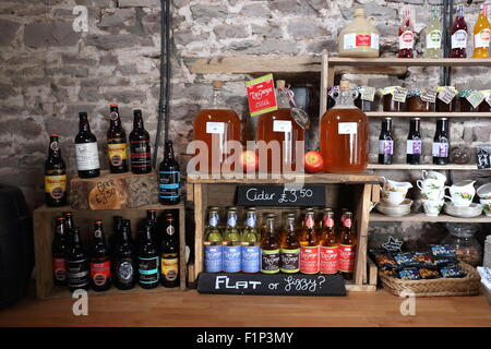 Ty Gwyn cider for sale in the bar at Pen y Lan farm, Pontrilas, England, UK - Stock Photo