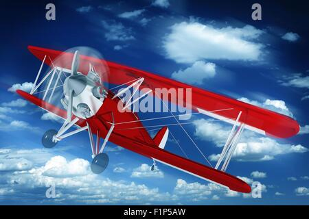 Red Biplane on the Sky. Aeroplane Illustration. 3D Rendered Biplane. Air Transportation Illustration Collection - Stock Photo