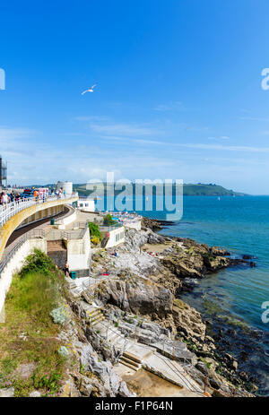 Coast looking towards theTinside Lido by the Hoe with Plymouth Sound behind, Plymouth, Devon, England, UK - Stock Photo