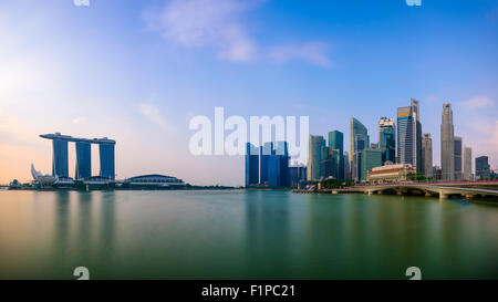 Singapore skyline at the Marina. - Stock Photo