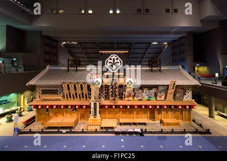 Historic building recreation of Nakamura Theatre at Edo Museum in Tokyo, Museum. - Stock Photo