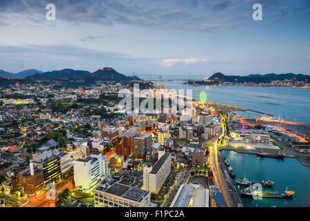 Shimonoseki, Japan skyline over the Kanmon Straits. - Stock Photo