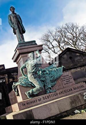 Scottish American Soldiers Monument, Old Calton Burial Ground, Edinburgh, Scotland. - Stock Photo