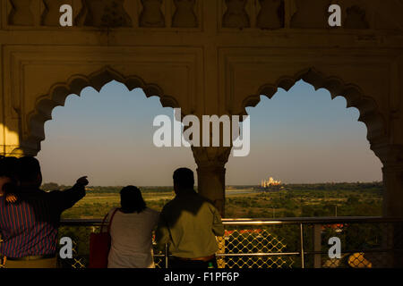 Taj Mahal from Red Fort, Agra, India. - Stock Photo
