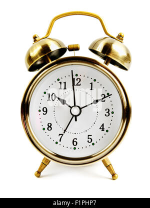 old style alarm clock isolated on white - Stock Photo