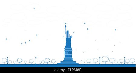 Outline Statue of Liberty New York. Vector Illustration - Stock Photo
